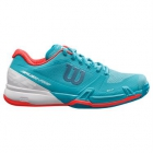 Wilson Women's Rush Pro 2.5 Tennis Shoes (Blue Curacao/White/Fiery Coral) - 6-Month Warranty Shoes