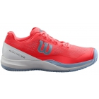 Wilson Women's Rush Pro 3.0 Tennis Shoes (Fiery Coral/White/Cashmere Blue) - 6-Month Warranty Shoes
