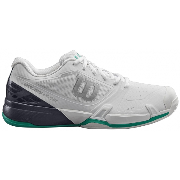 Wilson Men's Rush Pro 2.5 Tennis Shoes (White/Ebony/Deep Green)