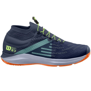 Wilson Men's Kaos 3.0 SFT Paris Tennis Shoes (Sargasso Sea/Shocking Orange/Green Gecko)
