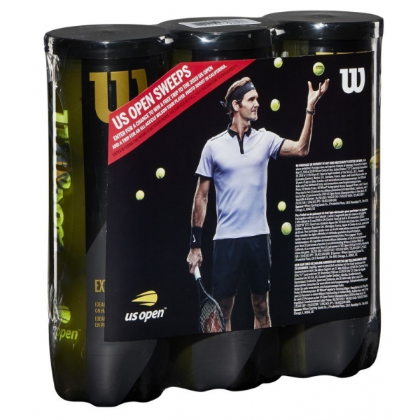 Wilson US Open 40th Anniversary Sweepstakes Extra Duty Tennis Balls, 3-Can Case (9 Balls)