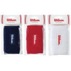 Wilson Double Wristbands 12pk (Wht Red Blu) - Wilson Headbands & Writsbands Tennis Apparel
