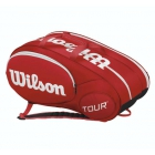 Wilson Tour Mini 6 Pack Tennis Bag (Red/ White) - Kids Tennis Bags - Tennis Backpacks for Girls and Boys