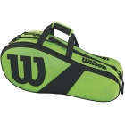 Wilson Match III 6 Pack Tennis Bag (Green/Black) - 6 Racquet Tennis Bags