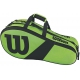 Wilson Match III 6 Pack Tennis Bag (Green/Black) - Tennis Racquet Bags