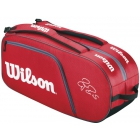 Wilson Federer Collection 12 Pack Tennis Bag (Red/ Blk Wht) - Wilson Federer Tennis Bags