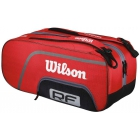 Wilson Federer Team Collection 12 Pack Tennis Bag (Red/ Blk Wht) - Wilson Federer Tennis Bags