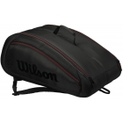 Wilson Federer Team 12 Pack Tennis Bag (Black w/ Red) - Wilson Team Tennis Bags