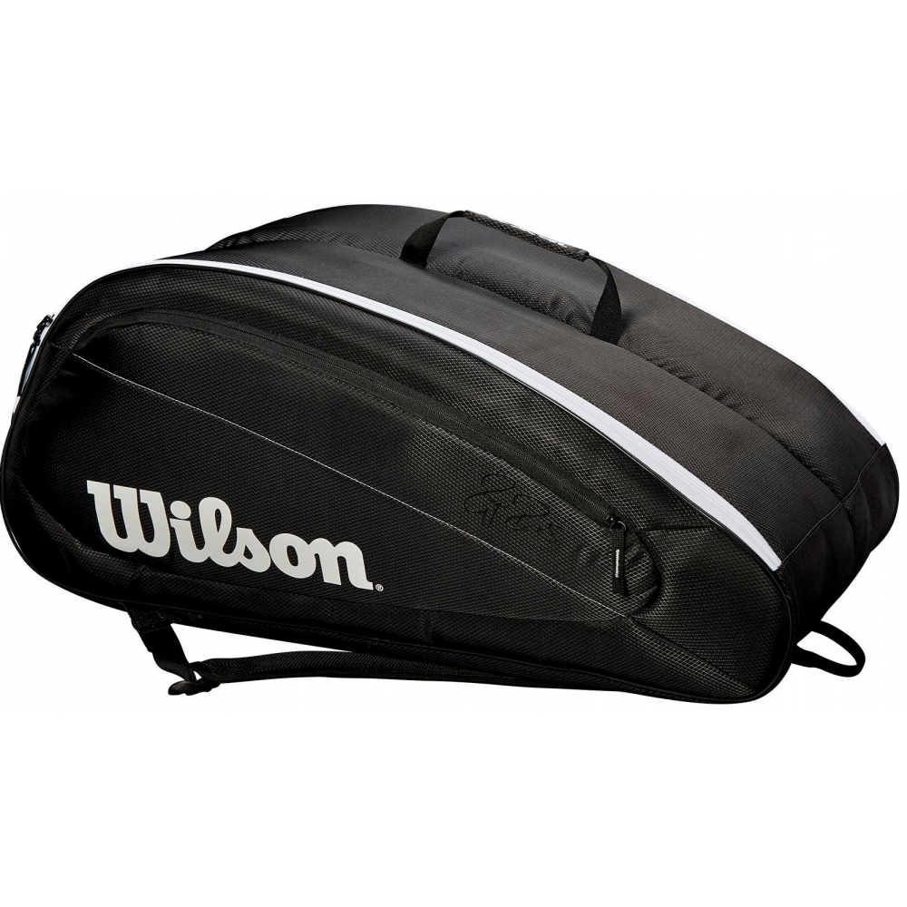 Wilson Federer Team 12 Pack Tennis Bag (Black/White)