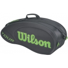 Wilson Tour Molded 6 Pack Tennis Bag (Black/ Lime) - Wilson Tour Series Tennis Bags