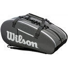 Wilson Super Tour 3 Compartment Tennis Bag (Black/Grey) - 9 and 12+ Racquet Tennis Bags