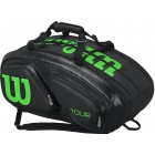 Wilson Tour V 15 Pack Tennis Bag (Black/Lime) - Wilson Tour Tennis Bags
