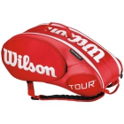 Wilson Tour Molded 2.0 9 Pack Tennis Bag (Red/ White) - Wilson Tour Series Tennis Bags