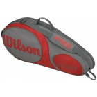 Wilson Team Gunmetal Collection 3 Pack Tennis Bag (Grey/ Red) - Wilson Tennis Bags