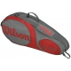 Wilson Team Gunmetal Collection 3 Pack Tennis Bag (Grey/ Red) - Tennis Racquet Bags