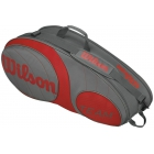Wilson Team Gunmetal Collection 6 Pack Tennis Bag (Grey/ Red) - Team Collection