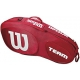 Wilson Team III 3 Pack Tennis Bag (Red/White) - Tennis Racquet Bags