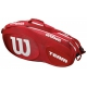 Wilson Team III 6 Pack Tennis Bag (Red/White) - Tennis Racquet Bags