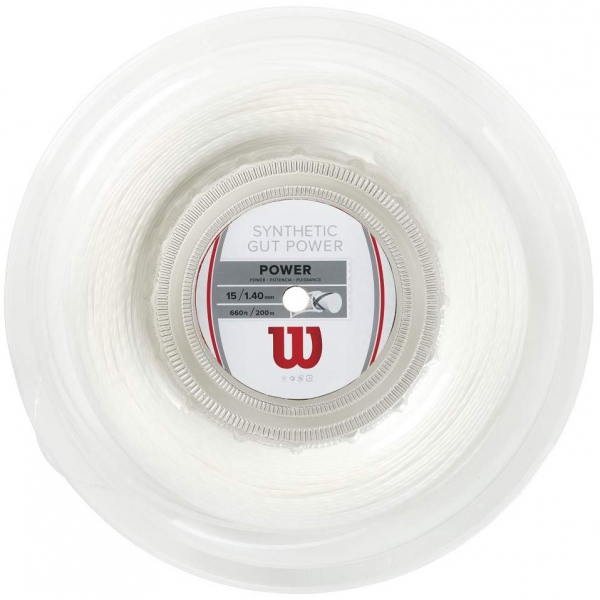 Wilson Synthetic Gut Power 16g White Tennis String (Reel)