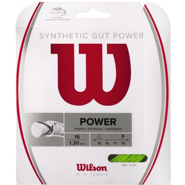 Wilson Synthetic Gut Power 16g Lime Green Tennis String (Set)