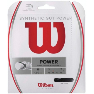 Wilson Synthetic Gut Power 17g Black Tennis String (Set)