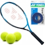 Yonex EZONE Bright Blue Junior Tennis Racquet bundled with Blue Overgrips and Tennis Balls