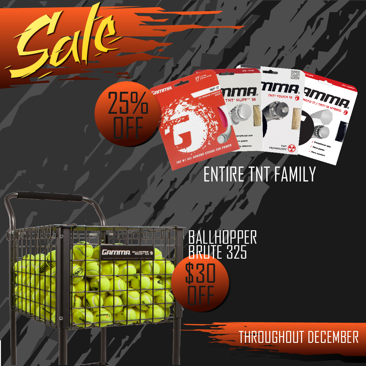 Gamma Holiday Sale Tennis String Ball Cart Court Equipment