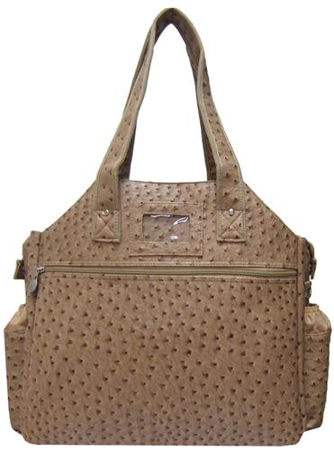 Jet Ostrich Camel Tennis Tote Bag