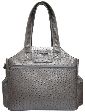 Jet Ostrich Metallic Silver Tennis Tote Bag