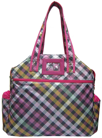 Jet Jazzy Pink Plaid Tennis Tote Bag