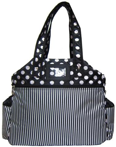 Jet Black & White Polka Dot Stripes Tennis Tote Bag