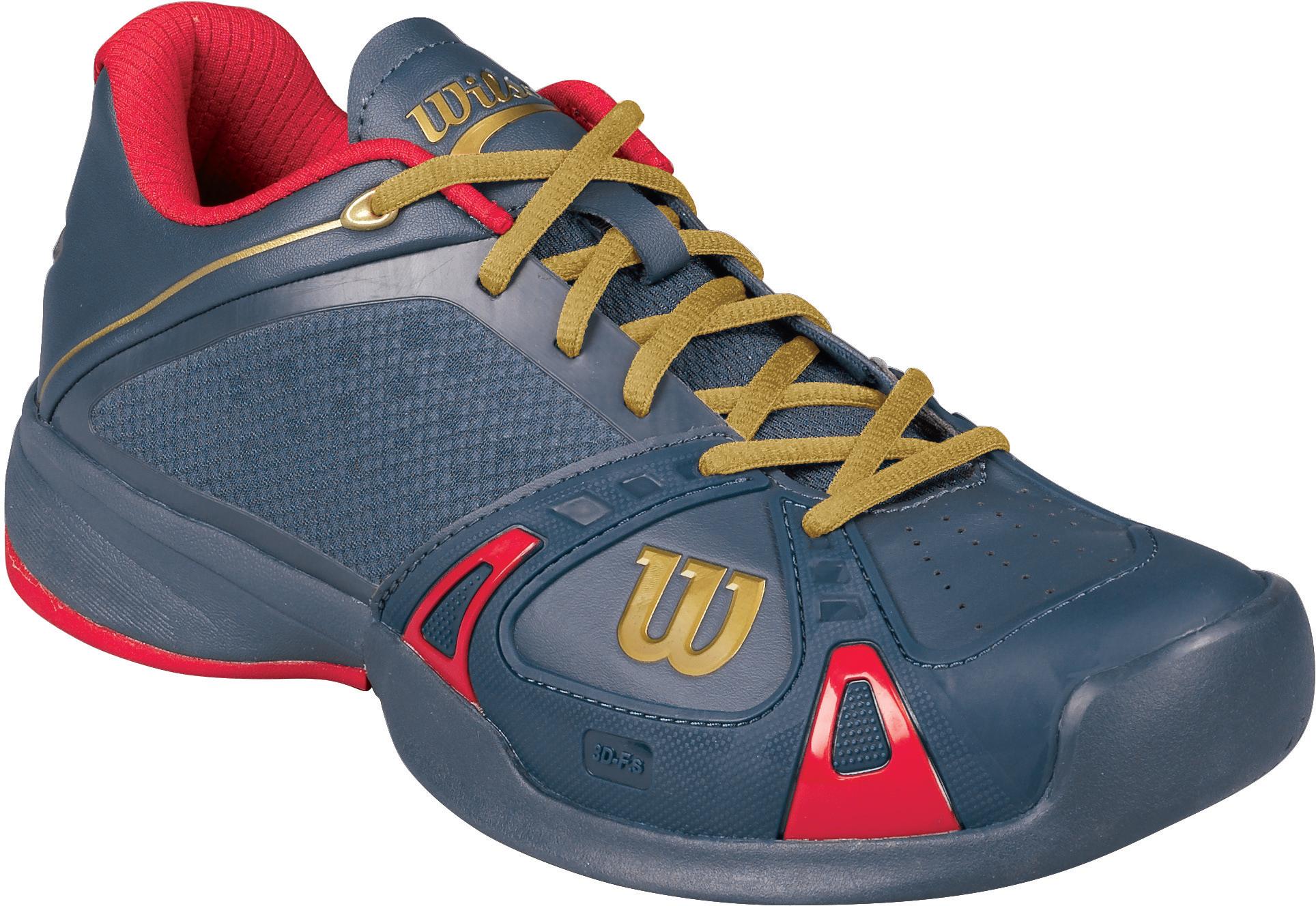 974708cbee25 Wilson Mens 100 Year Rush Pro Tennis Shoes (Grey  Red)