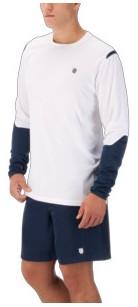 K-Swiss Men's Long Sleeve Tennis Crew (White/Insignia Blue)