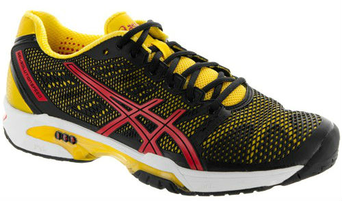 the latest c79aa 400f0 Asics Men s GEL-Solution Speed 2 Tennis Shoes (Black  Yellow  Red) from Do  It Tennis