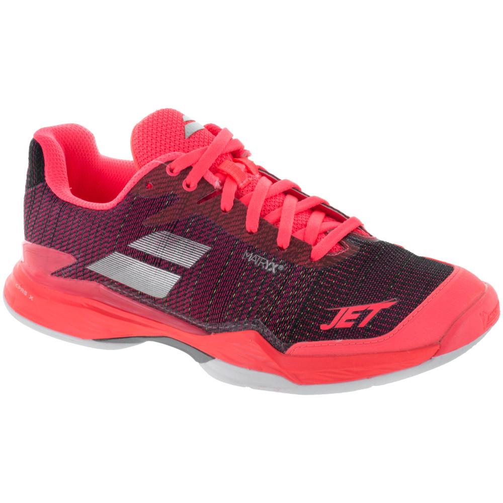Babolat Women's Jet Mach II AC Tennis Shoe (Fluo Pink/Silver/Fandango Pink)