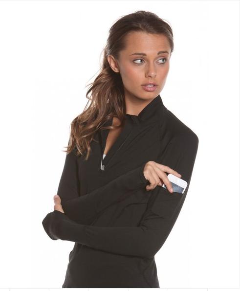Bloq-UV Mock Zip Long Sleeve Top (Black)