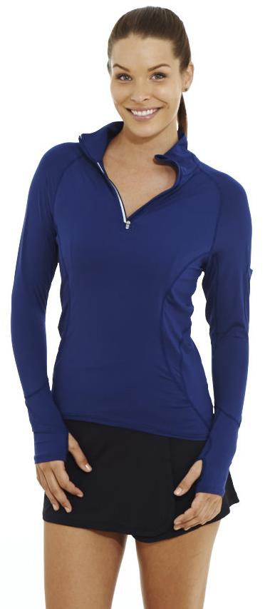Bloq-UV Mock Zip Long Sleeve Top (Navy)