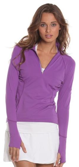 Bloq-UV Mock Zip Long Sleeve Top (Purple)