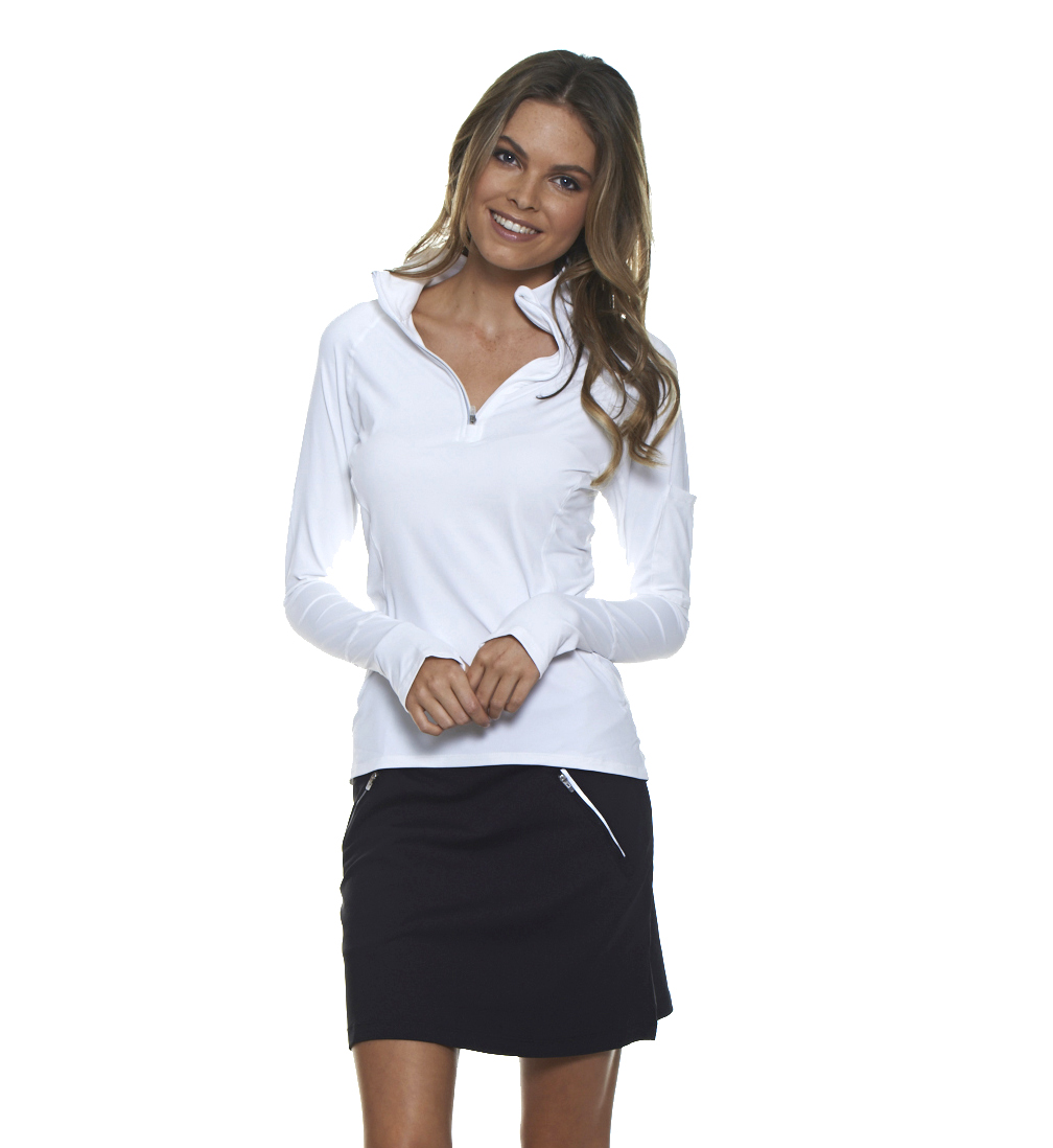 Bloq-UV Mock Zip Long Sleeve Top (White)
