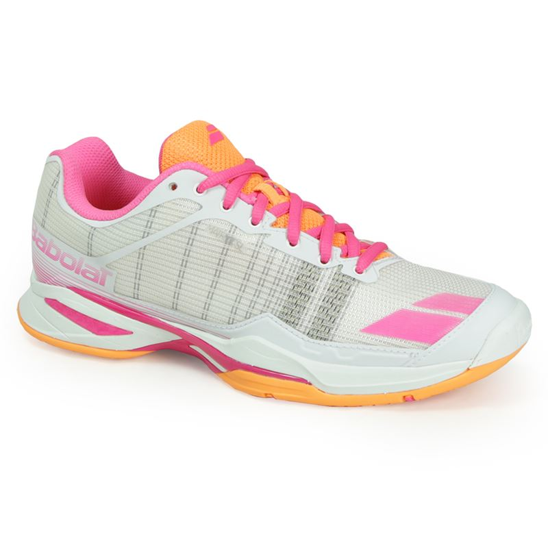 Babolat Women's Jet Team All Court Tennis Shoes (White/Orange/Pink)