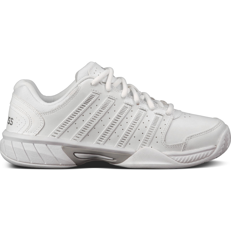 K Swiss Women S Express Leather Tennis Shoes White Silver Do It