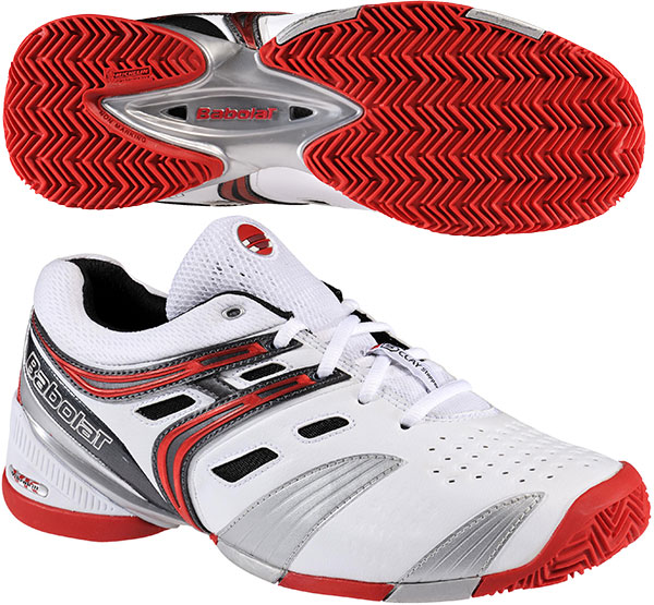 Babolat Men's V-Pro Clay Tennis Shoes (White/ Red/ Silver) from Do ...