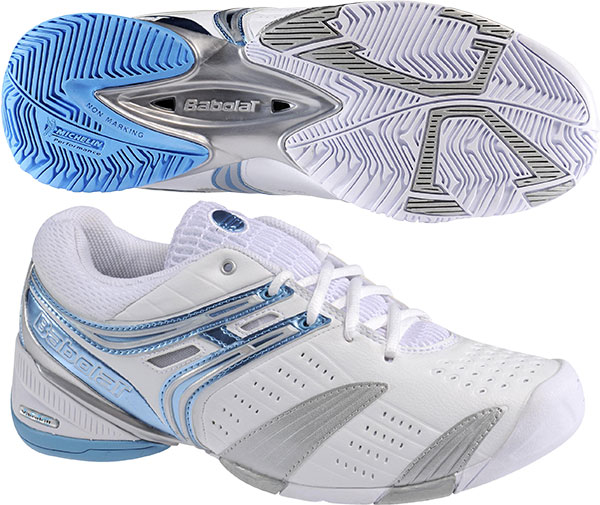 Babolat Propulse Lady Women's Tennis Shoes (White/Silver/Turquoise