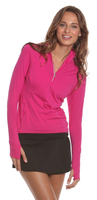 Bloq-UV Mock Zip Long Sleeve Top (Passion Pink)