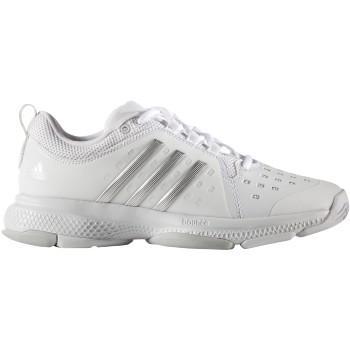 Adidas Women's Barricade Classic Bounce Tennis Shoes (White/Silver/Grey)