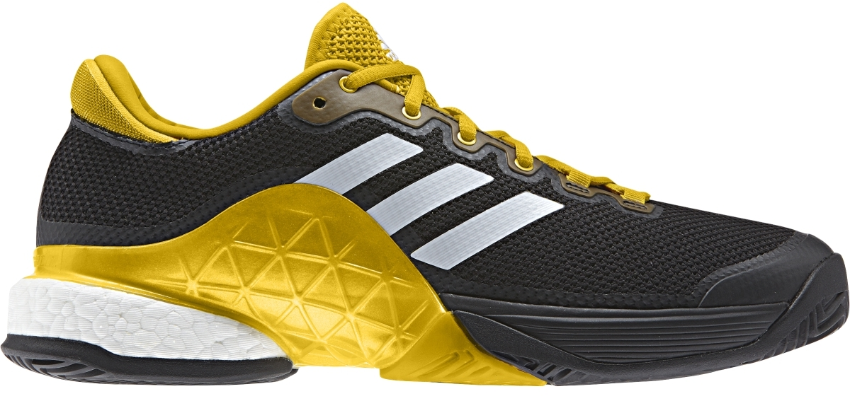 74f88c323f42 Adidas Men s Barricade 2017 Boost Tennis Shoes (Core Black White Equestrian  Yellow)