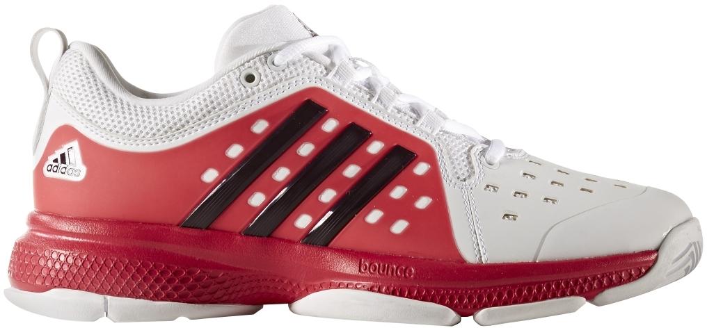 Adidas Women's Barricade Classic Bounce Tennis Shoes (White/Dark Burgundy/Energy Pink)