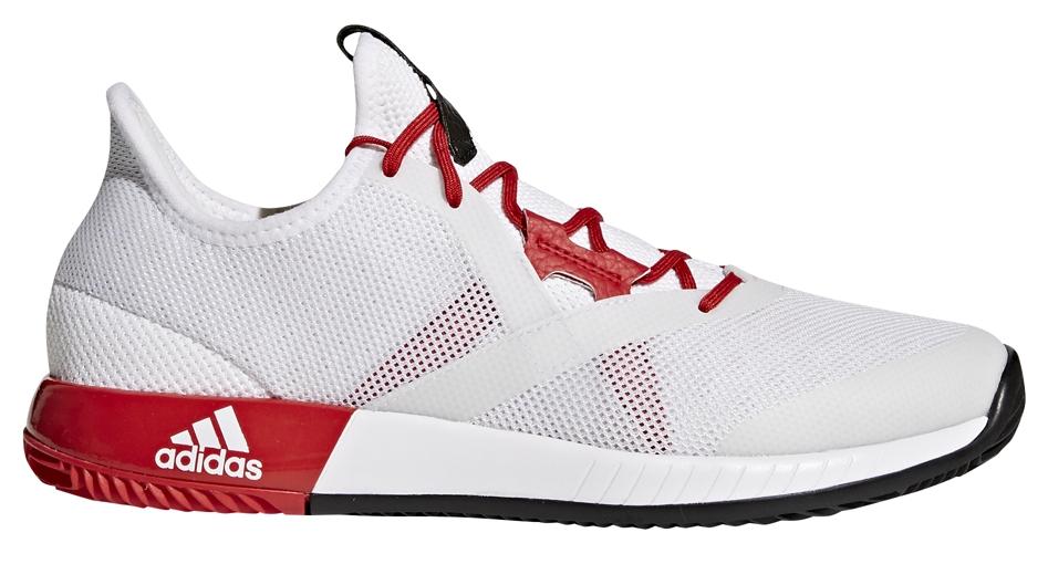 Adidas Women's Adizero Defiant Bounce Tennis Shoes (White/Scarlet/Core Black)