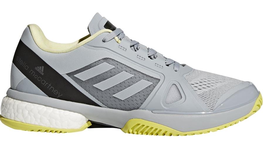 Adidas Women's aSMC Barricade Boost Tennis Shoe (Eggshell Grey/Aero Lime/Core Black)