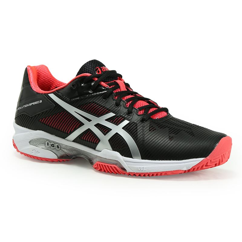 Asics Women's Gel-Solution Speed 3 Clay Tennis Shoes (Black/Silver/Diva Pink)